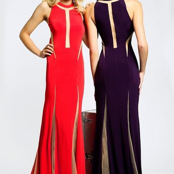 Jovani JVN21032 Illusion Cutout Mock Slit Fit And Flare Sweep Train