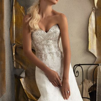 Strapless Alencon Lace Gown by Bridal by Mori Lee