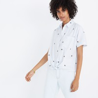 Embroidered Peace Sign Short-Sleeve Tie-Front Shirt