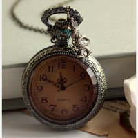 ON SALE Late... Late... I am very Late - A White Rabbits Large Pocket Watch Necklace - Alice in Wonderland & Tim Burton Inspired.