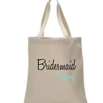 Custom Tote Bags, Bridesmaid Gift, Bridal Party, Mementos, Wedding, Bachelorette Party, Party Favor, One of a Kind Wedding Party Gift