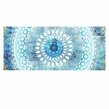 "Nina May ""Ornate Boho Mandala"" Blue Teal Mixed Media Luxe Rectangle Panel"
