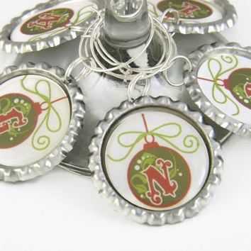Christmas Wine Charms , Christmas Wine Glass Tags , Personalized Party Favors , Christmas Table Decoration