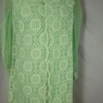 1960's Vintage Lace Dress Lee Jordan Mint Green Mod Dress