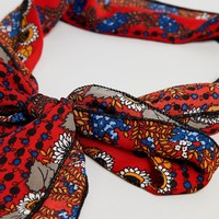 New Look Dark Sunflower Scarf Hair Tie at asos.com