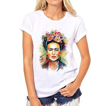 DCCKD9A Frida Kahlo Print  Summer 2017 Casual T-Shirt Women Tops Harajuku White Loose Tshirt Short Sleeve T Shirt Femme