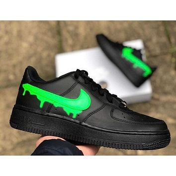 DRIP Custom Air Force 1 black green slime