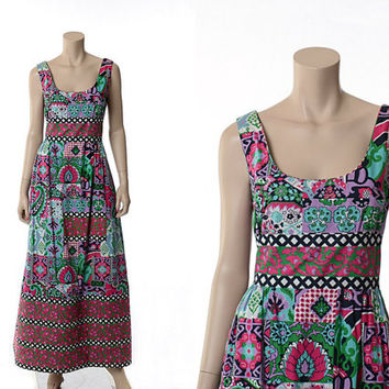 Vintage 60s 70s Mod Geometric Maxi Dress 1960s 1970s Design Thai Littler Quilted Floral Carnaby Street Gown