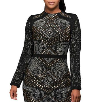 PEAP78W Black Mini Jeweled Quilted Long Sleeves Dress