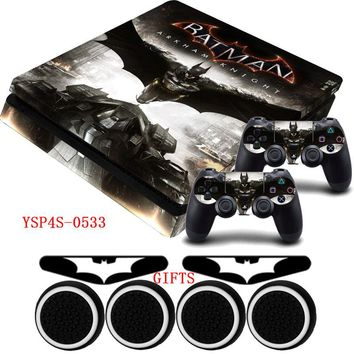 Batman Arkham Knight PS4 Slim Vinyl Skin Anti-slip Protective Decal Sticker +Gifts For Sony Playstation 4 Slim Console
