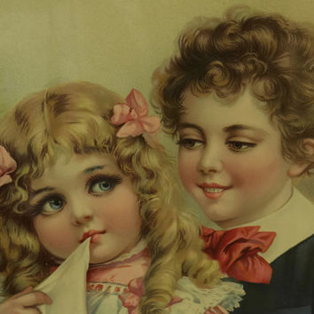 Framed Victorian Children Print. Antique Print. Kids Bedroom Art. Antique Nursery Decor.