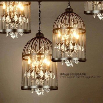 Rural Modern Crystal Chandelier Ceiling Fixture E27 LED Droplight Dining Room Cage Lamp Bedroom Home Corridor Decor Gift New