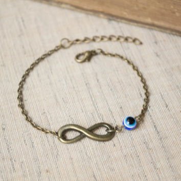 Infinity Bracelet. Evil Eye Bracelet. Antique Brass. Friendship, Bridesmaid Gift. Dainty, Feminine. Lucky Bracelet