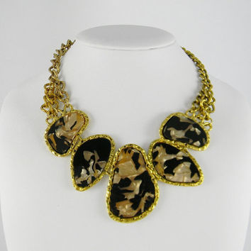 Anthropologie Inspired STATEMENT Style Marbled Brown & Gold Big Chunky Beads Necklace
