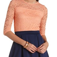 THREE-QUARTER SLEEVE LACE CROP TOP
