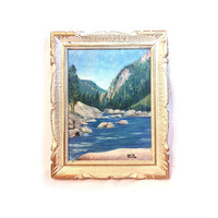 Vintage Oil Painting Original Painting Mountain Painting River Framed Painting Impressionism Wood Carved Frame Antique Painting Reitz Art