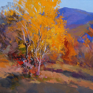 Colorful Landscape Art, Fall Painting Tree, Orange Blue Painting