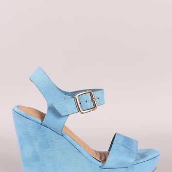 Bamboo Suede Buckled Ankle Strap Platform Wedge
