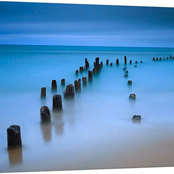 SALE Seascape Canvas Wall Art Blue Beach Decor Pier Dock Pilings at Dusk Living Room Bedroom Print Ocean Sea Lake Photography Home Decor