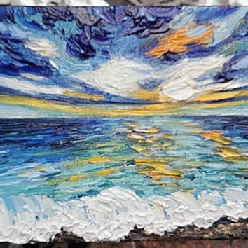 "Mini Impasto Oil Painting Sunset Seascape Ocean Sea 4"" x 6"""