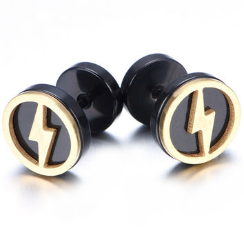 10mm Stainless Steel Stud Hoop Mens Earrings Black Gold Flash KE908