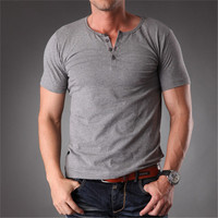 Azel Plain Blank T Shirt Men 2016 Grey Stretchy Muscle Body Slim Fit Short Sleeve Top With Buttons Summer Clothes Men MT-1355
