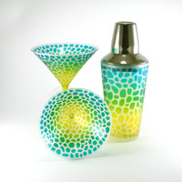 Martini and Shaker 3pc Set - River Rocks - Turquoise and Yellow Frost - Custom Painted Glassware