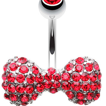 Multi Glass-Gem Sparkle Bow-Tie Belly Button Ring