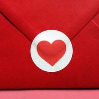 Heart Stickers, Valentines Sticker, Red Love Heart Envelope Seal, Cute Heart, Postage & Packaging Stickers, Mailing and Shipping Stickers