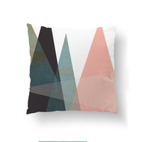 Pink Blue Pillow, Pastel Decor, Throw Pillow, Cushion Cover, Geometric Triangles, Home Decor, Abstract Shapes, Simple Art, Decorative Pillow