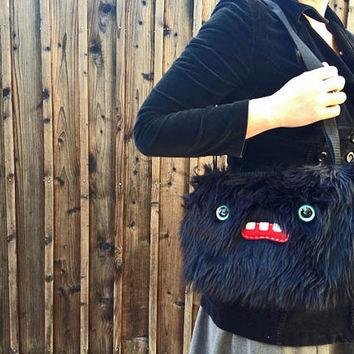 Black Shoulder Purse- Two Turquoise Eyes