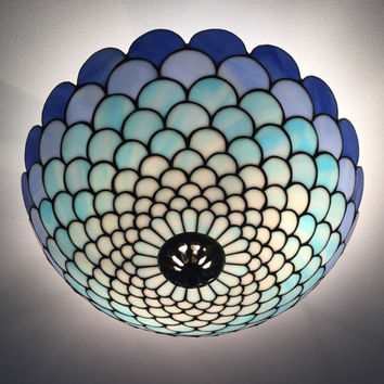 Blue Tiffany plafond. Ceiling lamp. Stained glass plafond lamp. Glass lightning. Ceiling light fixture.