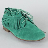 Breckelle Sandy-24 Fringe Lace Up Ankle Bootie