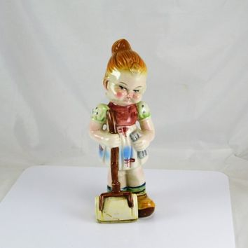 Cleaning Girl Figurine - Pottery Woman Girl w/ Carpet Sweeper - 8.5 Inches Tall