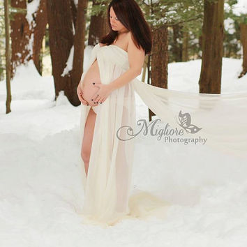 Dorina extra long white chiffon maternity gown, maxi dress, prom dress, brides gown/wedding gown/double layer gown