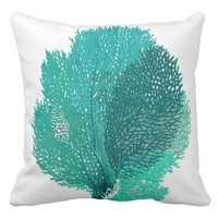 Aqua Sea Fan Pillow