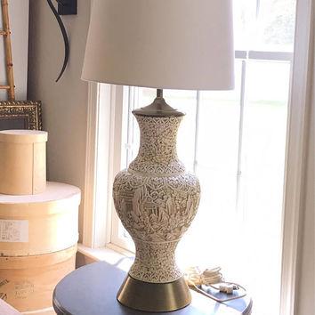 Unique Mid Century Carved Asian Lamp, Plaster Relief Tall Table Lamp, White  And Gold