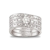 Amazon.com: Engraved Diamond Women's Three Band Ring: Hidden Message Of Love by The Bradford Exchange: Jewelry