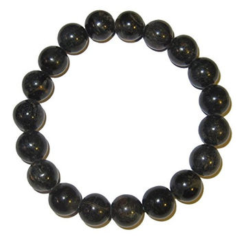 Petrified Wood Bracelet 10 Mm Stretch Black Ancient Forest Stone Round Crystal Energy (Gift Box) (6.5 Inches)