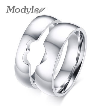 Couple Wedding Bands Rings Heart Style Stainless Steel Rings for Women and Men