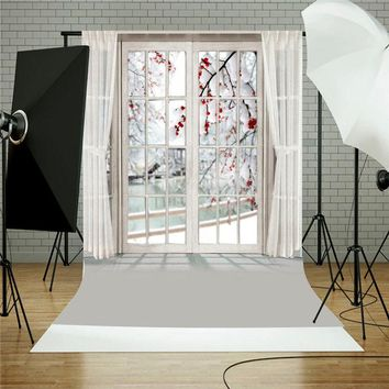 5x7FT Window Curtain Flower Studio Vinyl Photography Backdrops Photo Background