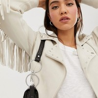 Stradivarius faux suede biker with fringing in beige | ASOS
