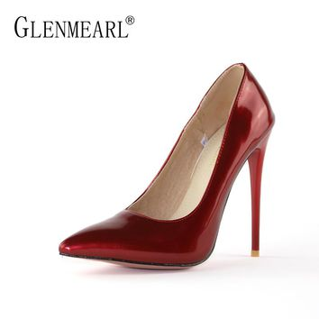 Stiletto Women Pumps High Heels Shoes Brand Patent leather Spring Single Heels Shoes Pointed Toe Woman Wedding Pumps Plus SizeDE
