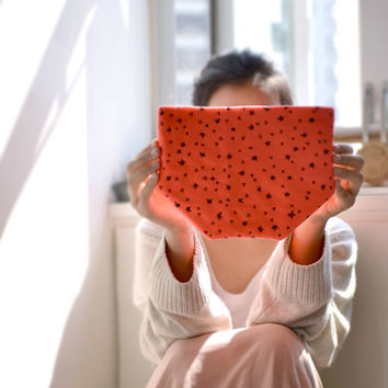 Three Star Clutch -neon orange pink purse with stars and triangles pattern