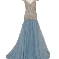 DROP WST EMBRD BALL GOWN