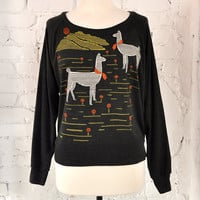 Graphic T Shirt Llamas Design Hand Screen Printed Long by maryink