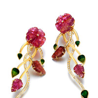 One-Of-A-Kind Carved Tourmaline Florets & Leaves Diamond Earrings by Madhuri Parson