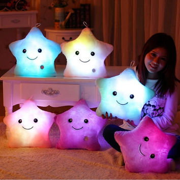 Gift Room Fashion 40*35CM 1pcs Stuffed Dolls LED Stars Light Colorful Pillows Popular Plush Toys