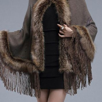 Chicloth Hooded Fringe Faux Fur Trim Cape Sleeve Coat