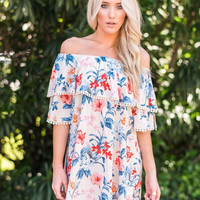 Cream Floral Print Off-the-Shoulder Dress
